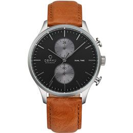 OBAKU Gran - camel // stainless steel men's multifunction watch with a tan leather strap