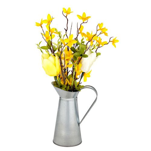 "Modern Farmhouse Home Decor: faux flowers yellow tulips in tin farmhouse pitcher  Forsythia Tulip in Tin Pitcher, 16"" //  $14.99"