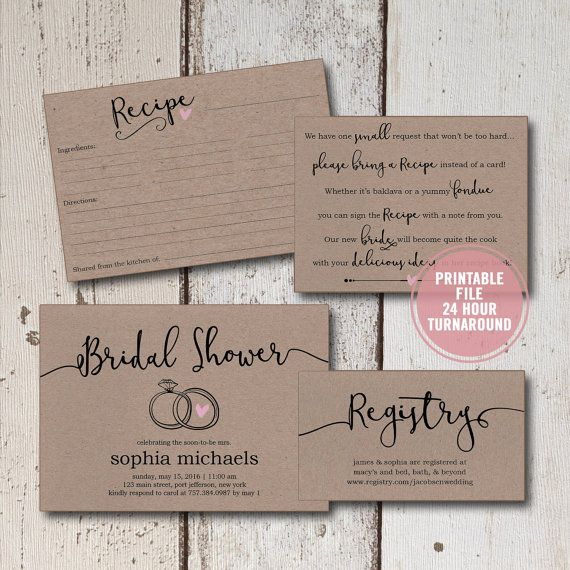 Bridal Shower Invitation Printable Suite 4 Pieces Rustic