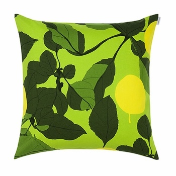 We love the leafy lushness of this new print, perfect for adding an earthly element to a sofa or love seat. Marimekko Onnen Omenapuu Green/Yellow Throw Pillow