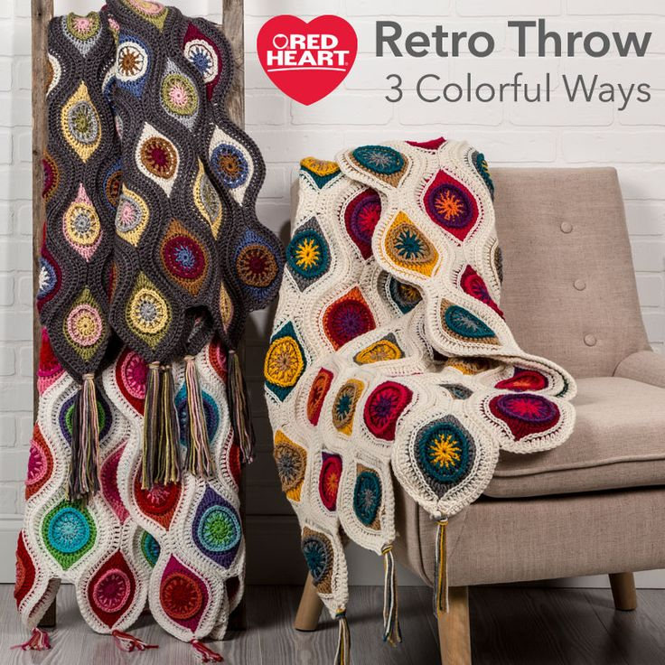 """Retro Throw 3 Colorful Ways -- This popular throw just begged to be featured in """"3 Colorful Ways"""" because it is so outstanding for today's modern interiors. We love the way it can be crocheted in any unique family of colors that is suited to your surroundings and still look just as wonderful."""