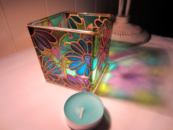 Unique Hand Painted Glass Candle Holder by ASplashofColour1, £16.00