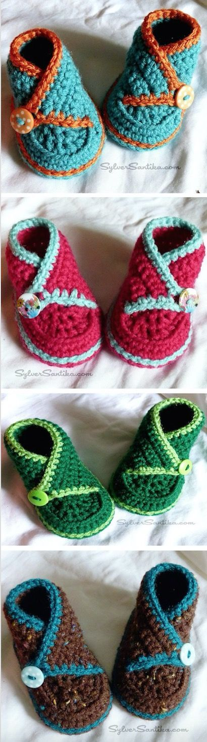 Crochet Kimono Baby Shoes Video Tutorial Descubre más de los bebés en somosmamas.com.ar. http://www.somosmamas.com.ar/: