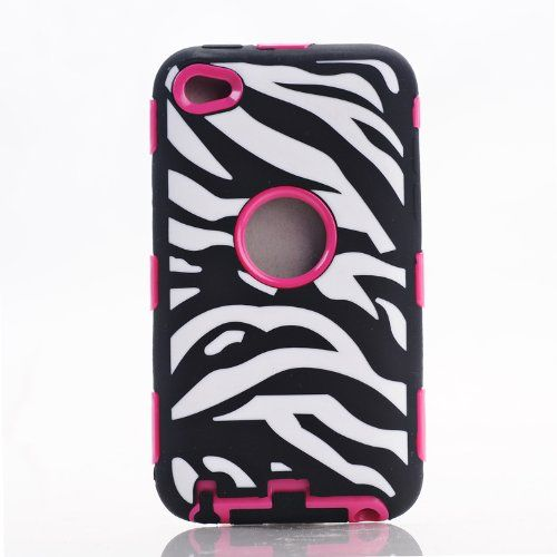 Generic 3 in 1 Deluxe Zebra Stripes Hybrid Hard Soft High Impact Armor Case Combo(built in Screen Protector) Case for Ipod 4/4s (4g) 4th Generation Itouch (Black + Rose)  From Amazon