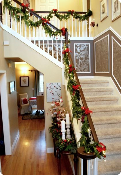 Lighting Basement Washroom Stairs: 118 Best Images About Christmas Garland & Mantel Ideas On