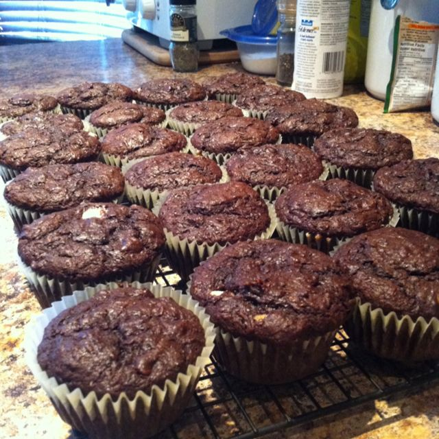 Zucchini, Carrot Chocolate Muffins! Great way to hide veggies for kids.  Healthy after school snack...  Yields 24 muffins  - 1 large carrot and 1 large zucchini finely grated - 1 tbs of grated ginger (optional) -1 cup of butter or margarine -1 cup or brown sugar -3/4 cup of white sugar -3 eggs -1 cup of cocoa powder -1 1/3 cup of flour -3 tbs of baking powder -1 tsp of baking soda -1/2 tsp salt -1 small bag of semi-sweet chocolate chips  Preheat over to 350. Beat all the wet ingredients and…