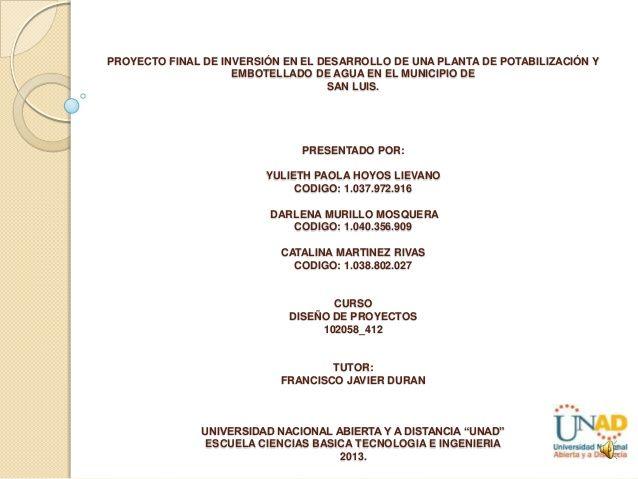 1. proyecto de inversión en el desarrollo de una embotelladora de agua potable by paolahoyos via slideshare