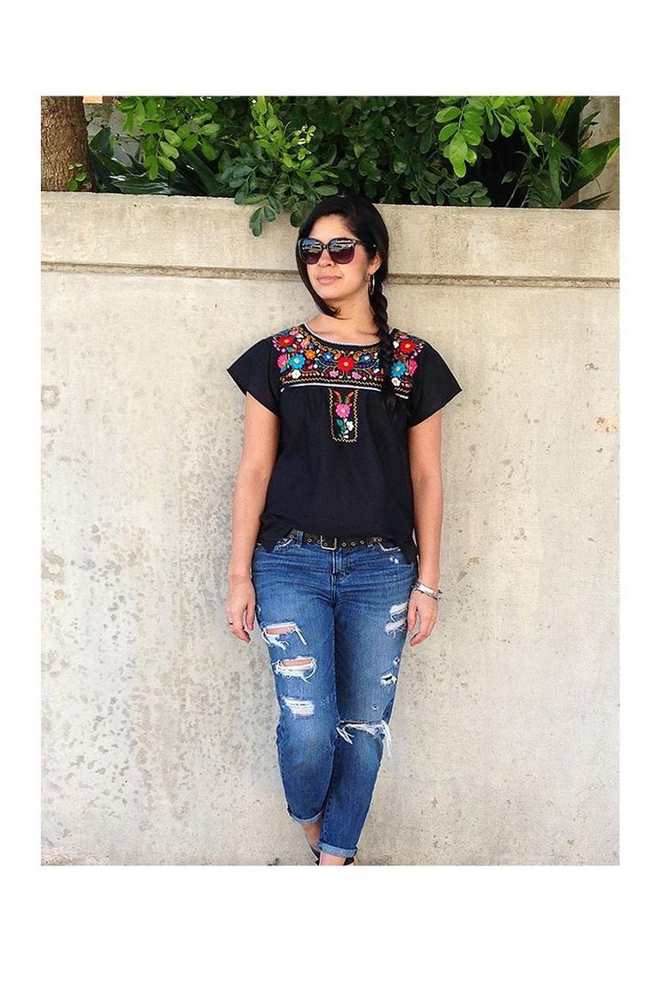 $40.00 Xochitl Blouse - Black with Multi Color Embroidery