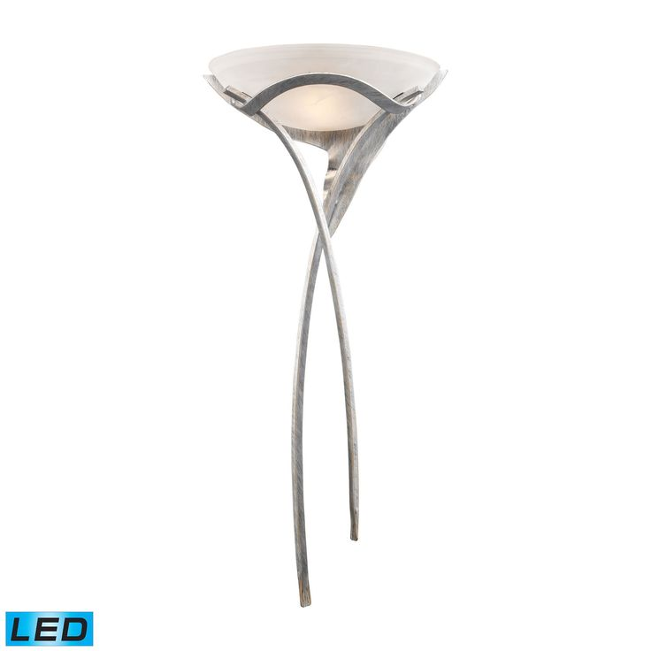 Aurora 1 Light LED Sconce In Tarnished Silver With White Faux-Alabaster Glass 002-TS-LED