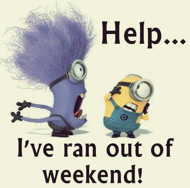 Purple Minion Quotes Funny: I've Ran Out Of Weekend