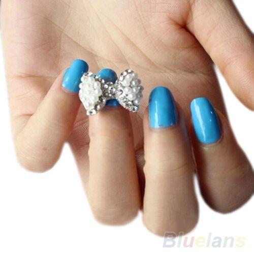 5 PCS menina mulheres 3D Glitter pérola Rhinestone Bow Nail Art Stickers dicas DIY decoração jóias 1WGZ alishoppbrasil