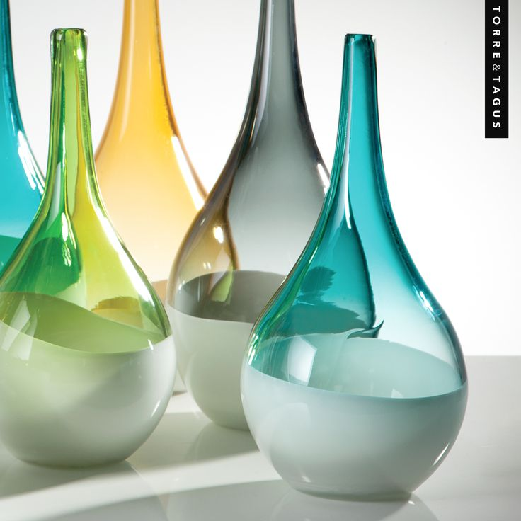 Showcase a splash of vibrant color in any room with these artistic teardrop vases.  #TorreAndTagus #GlassVases #TeardropVases #ColourYourHome #HomeDecor www.torretagus.com