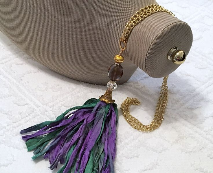 SARI SILK Tassel Necklace ~ Purple and green sari silk ~ Hand made tassel ~ Chic and Classy ~ Beaded Connector ~ Gift for Her ~ by CJsJewelryWorks on Etsy