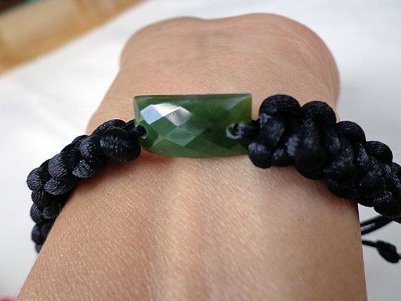 Nephrite jade faceted rectangular bracelet . S439