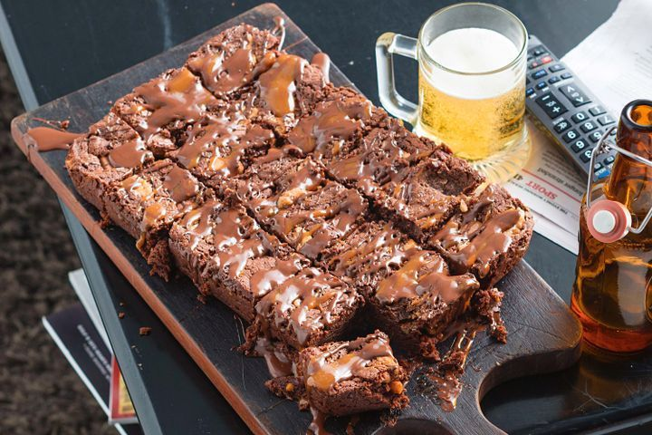 Chunky chocolate, peanut butter and caramel slice