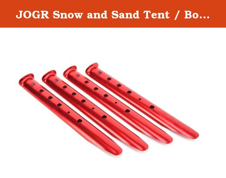 "JOGR Snow and Sand Tent / Boating Stakes 4 Pack (12""). Super Strong Aluminum Construction. Anodized Finish. 3 Sizes Available, sold in 4 Packs!. Use in Sand or Snow!. Holes for a variety of rigging options, standard or dead man."