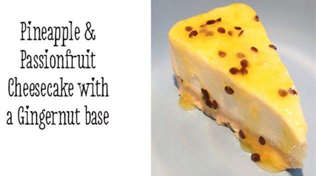 Pineapple & Passionfruit cheesecake with gingernut base recipe #OHbaby!