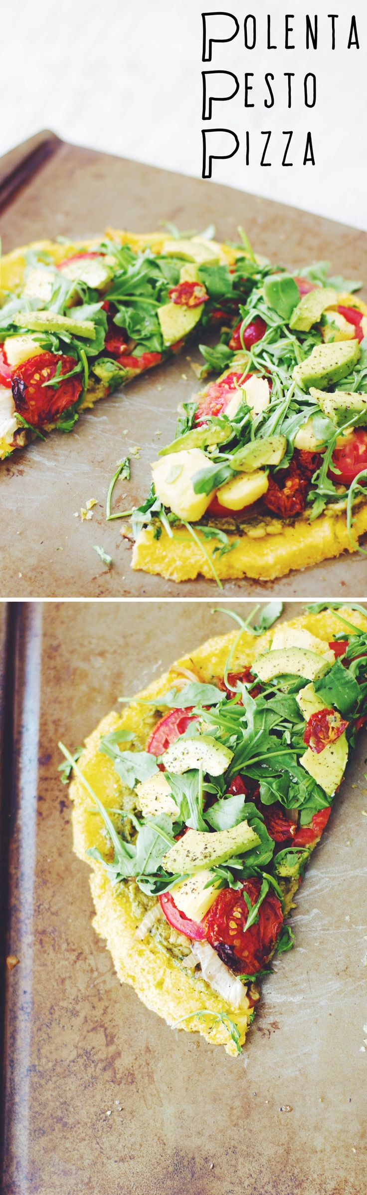 Polenta Pesto Pizza (vegan & gluten-free) ||| Brewing Happiness