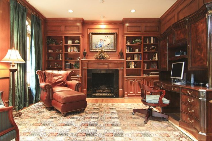 STUDY - 14u0026#39; x 13u0026#39;. Warm and inviting with wood paneled walls and built ...