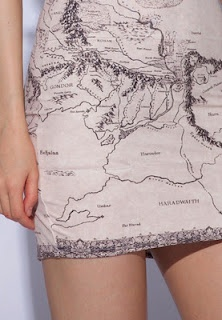 map dress -- If I'm not mistaken, this is the Map from LOTR (Lord of the Rings for those non-geeks)