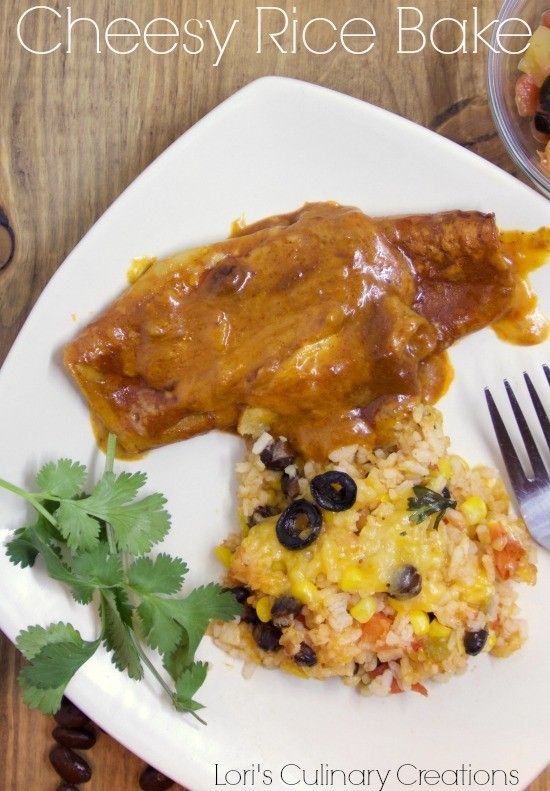 Cheesy Rice Bake for Cinco de Mayo. Who needs to wait until Cinco de Mayo for this delicious rice dish?