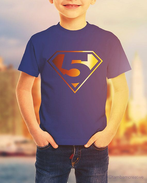 5 year old Birthday Boy Tshirt Superman DIY Clipart SVG Silhouette File Digital Download for Vinyl or Print