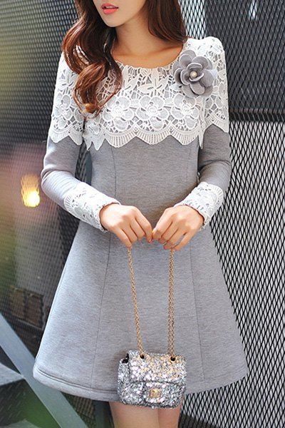 Sweet Long Sleeve Scoop Neck Lace Spliced Flower Pattern Thicken Dress + Brooch For Women