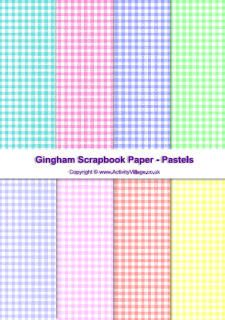 Free Gingham Scrapbook Paper in Pastel, Bright & Dark colors