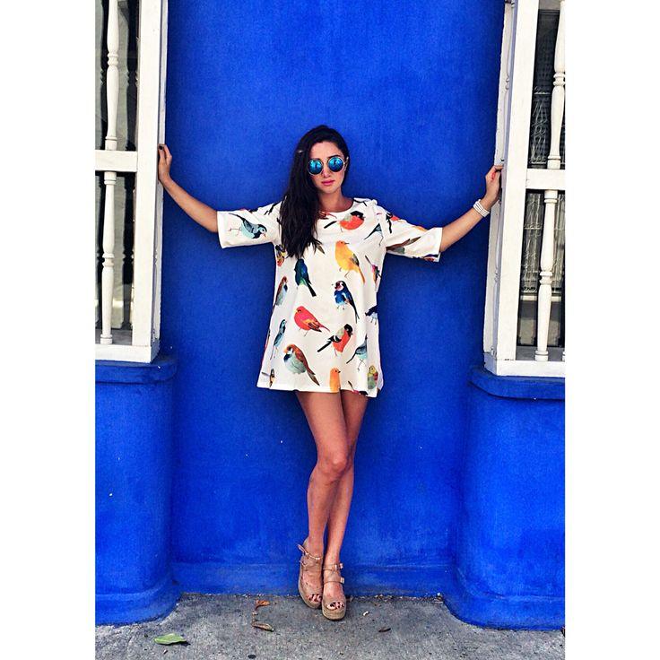 Vestido estampado corto cartagena colombia sol castaño solcastao lifestyle blogger