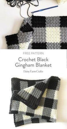 Crochet Black Gingham Blanket - Free Pattern #CrochetProjects