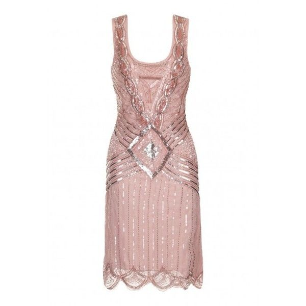 Frock and Frill Athena Blush Sequin Gatsby Flapper Dress ($180) ❤ liked on Polyvore featuring dresses, little black sequin dress, white polka dot dress, frock and frill dresses, white dress and white flapper dress