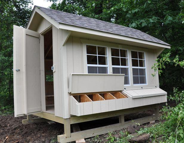 Great prefab coop. Windows! (Needed for winter eggs.) Walk inside!