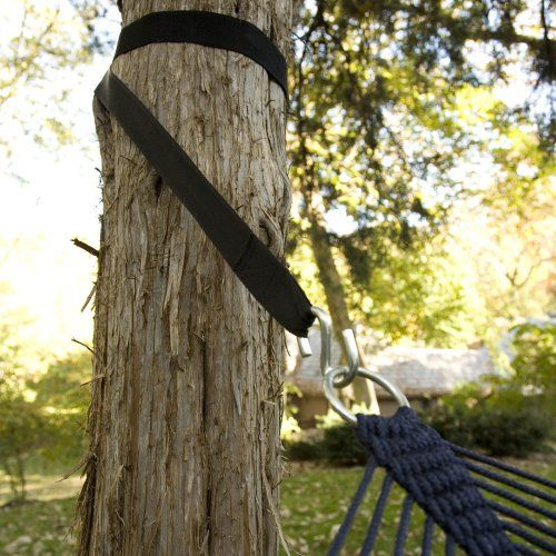 Set of 2 Hammock Tree Straps - Hayneedle - Tree-friendly hammock suspension system - Allows hanging on trees or sturdy objects up to 20 feet apart - Constructed of heavy-duty weather-resistant nylon - Product weight is 1 lb.; Strength tested to 400 lbs. - Tree straps work with all types of hammocks - $20 on sale; reg price is $39.95