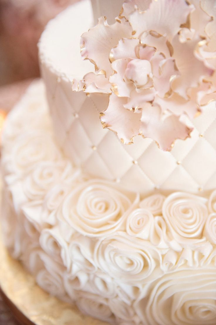Three Tied Round White Wedding Cake with Rose and Quilt Pattern and Gold Initial…