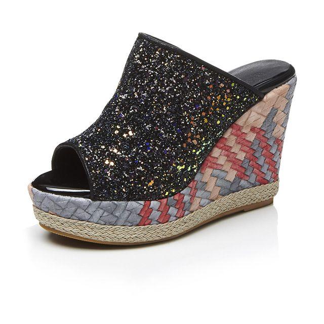 Peep Toe Thick Platform Women Glittery Mules
