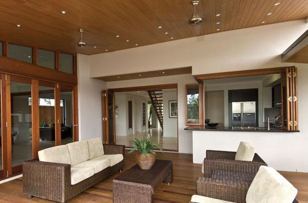 M & B - Alfresco Doors Gallery - timber bifolds and servery windows