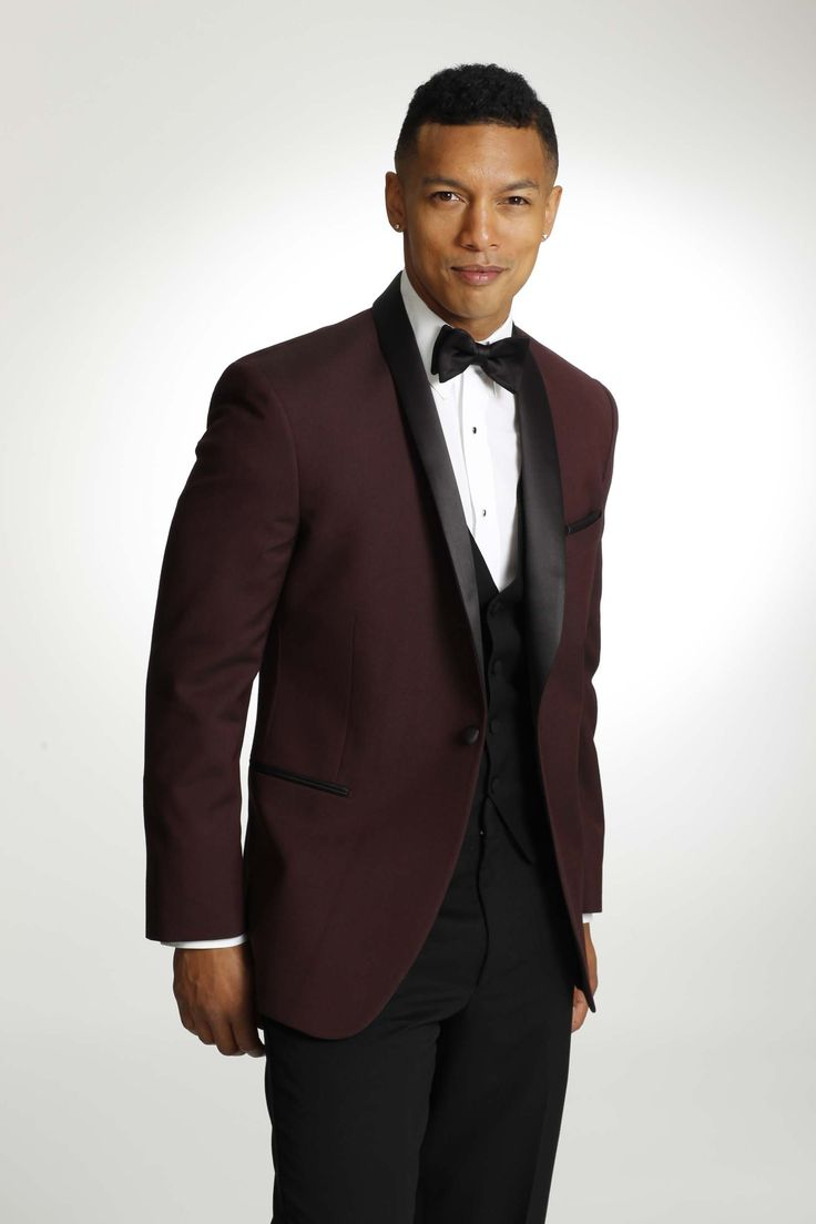 Maroon Tuxedo with Black lapel | Men's Sarno Tuxedos ...