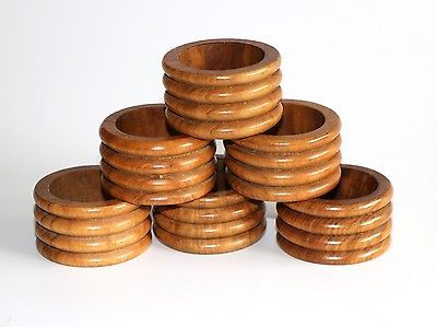 Vintage Wooden Scadia Scandinavian Napkin Rings Holders Ringed Detail - Set Of 6