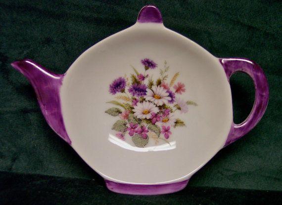 Porcelain Tea Caddy, Porcelain Tea Holder, White Daisies/Purple Flowers, Tea, Teapot  Shaped Tea Caddy, Ring Dish,Teapot Shaped Dish,OFGTeam