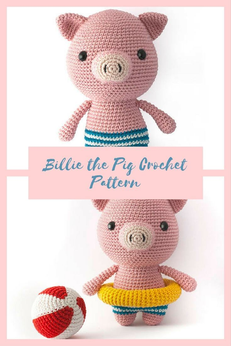 Billi the Pig crochet pattern. Instant download. #ad #etsycrafts #handmadetoys