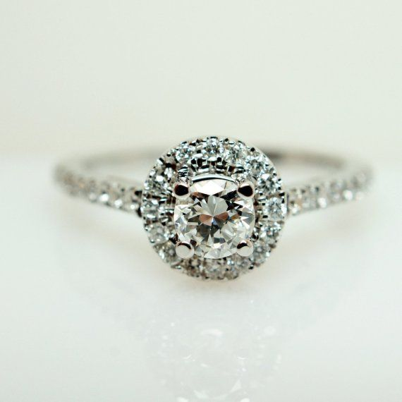 sparkly round engagement ring | be still my heart, this thing is gorgeous. | by Jamie Kates Jewelry via How to Buy an Engagement Ring Online http://emmalinebride.com/planning/buying-engagement-ring-on-etsy/