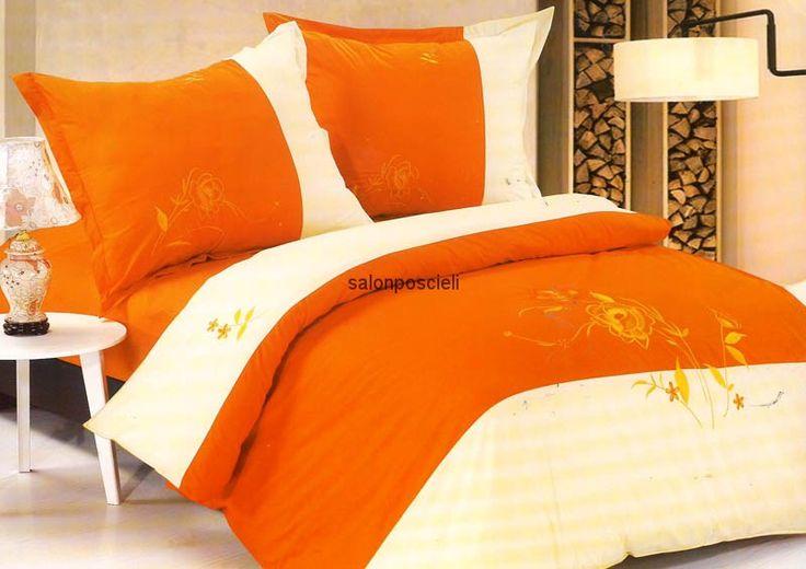 Pościel haftowana Kolorystyka: pomarańcz, biel