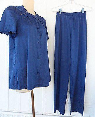 Vintage Vanity Fair 2 Piece Pajama Set Short Sleeve Blue Size Petite S