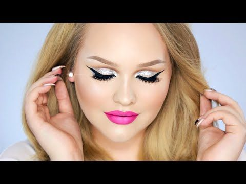 Glitter Cut Crease - Hot Pink Lips Makeup Look - YouTube