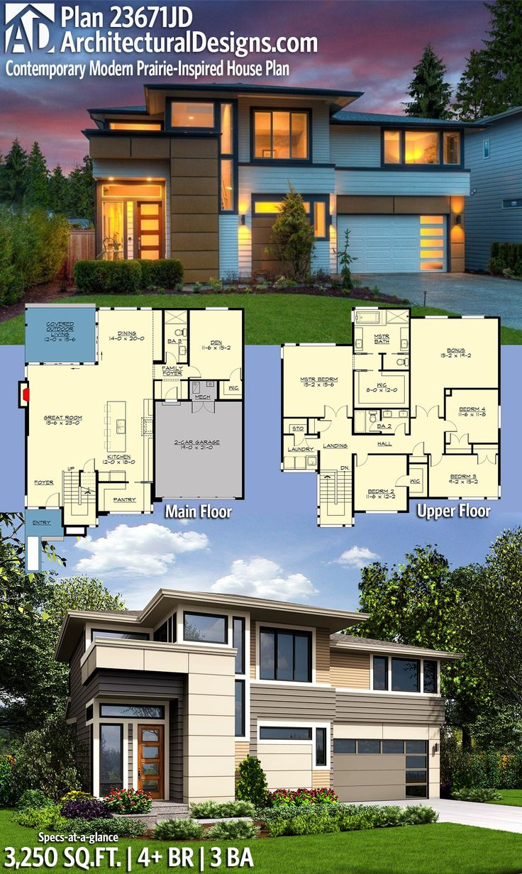 Architectural Designs Modern Prairie House Plan 23671JD