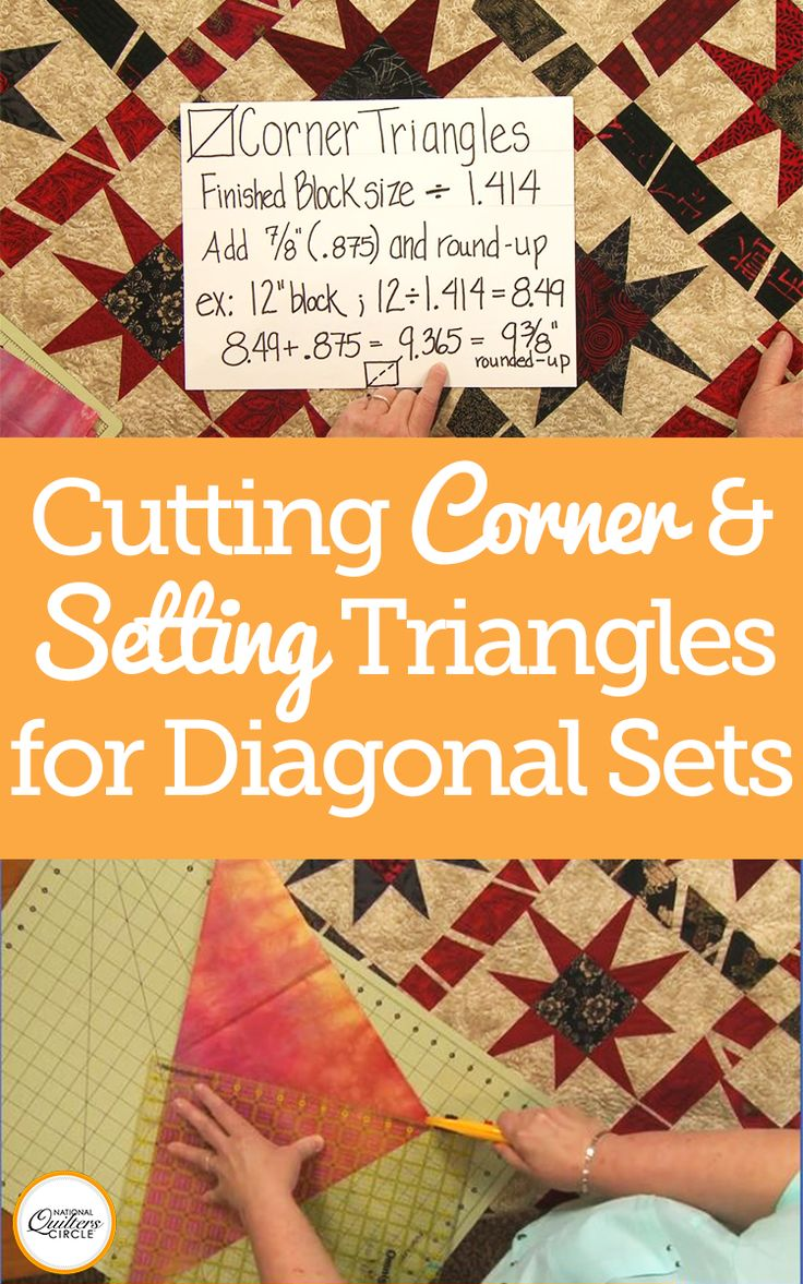 When designing and piecing a quilt set on the diagonal you will need to have both setting triangles and corner triangles in your design. Heather Thomas shows you how to measure for and cut both kinds of triangles sharing several different cutting and measuring tips and techniques.