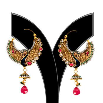 Green, Red and Golden Color American Diamond Studded Earring