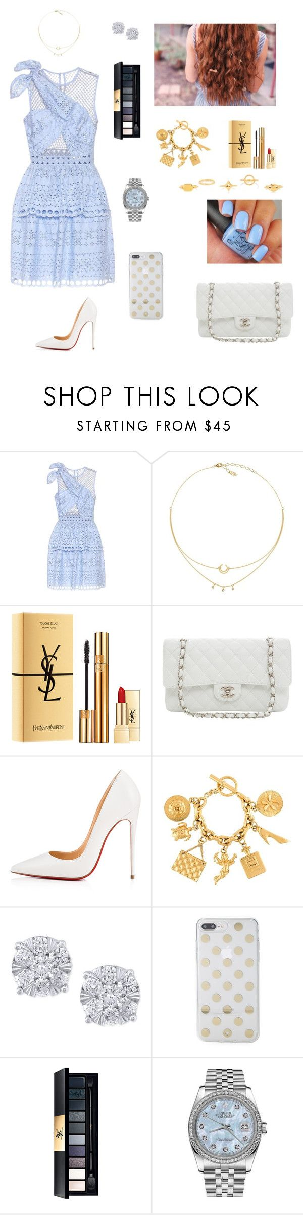 """""""#234"""" by tamara-wolfram ❤ liked on Polyvore featuring self-portrait, Yves Saint Laurent, Karl Lagerfeld, Christian Louboutin, Chanel, Effy Jewelry, Kate Spade, Rolex and Chloé"""