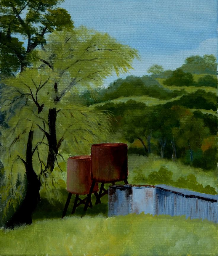Rusting Away. Rusting water tanks next to an old shed in the bush. Acrylic on canvas 25cm x 20cm
