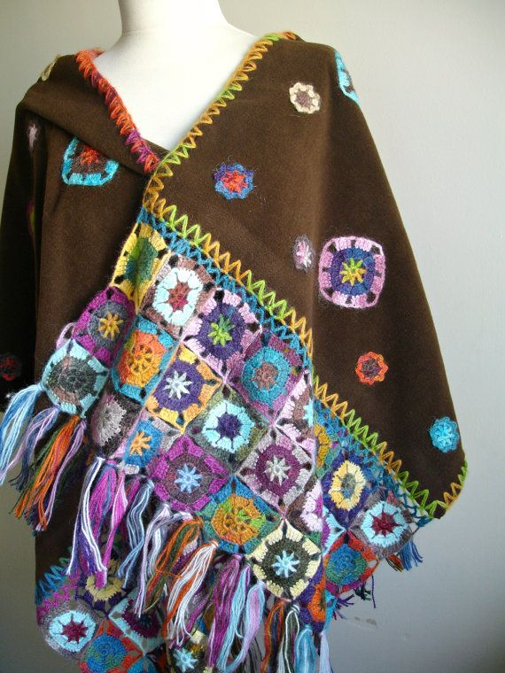 Handcrocheted Brown Shawl , Mothers Day Gift , Crocheted Flowers on Polar Fleece Cloth, Special  OOAK Design